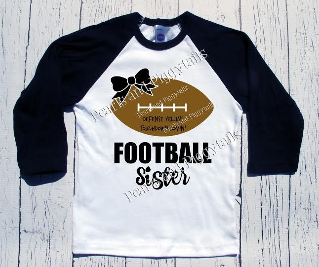 PREORDER Football Sister Raglan - Black