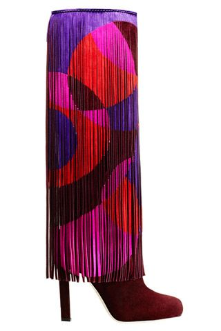Brian Atwood Red Pink Purple Sixties Style Fringe Boots Fall 2014 #Shoes #Heels