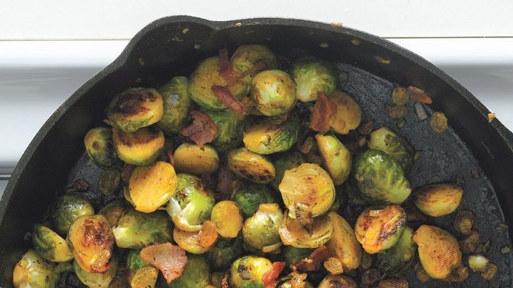 Brussels Sprouts with Bacon and Raisins   Bon Appetit Recipe