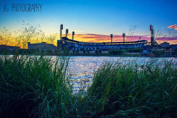 PNC Park at Sunset (pittsburgh, Roberto Clemente Bridge, river)