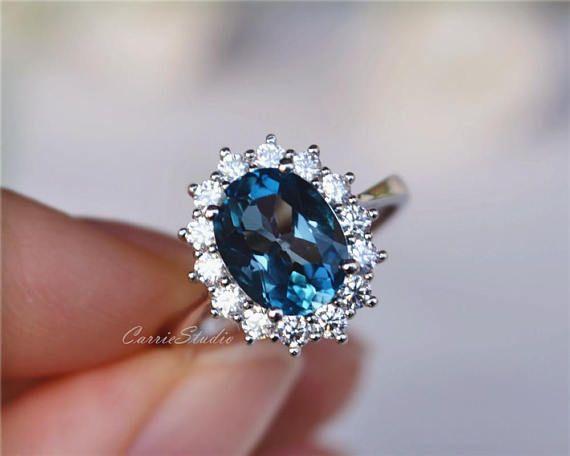 White//Sky Blue Topaz Diamond Engagement Wedding Fine Rings Sterling Silver 925