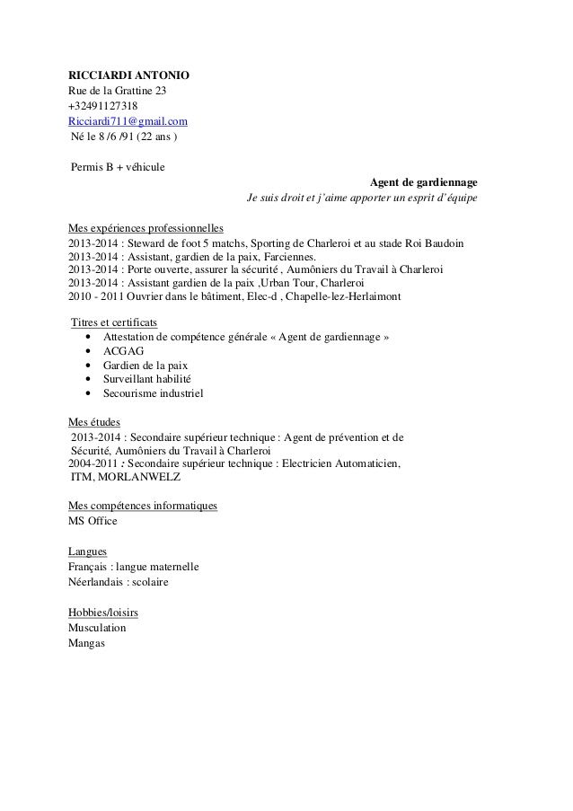 cv agent de gardiennage Cv agent de gardiennage Pinterest - economist sample resumes