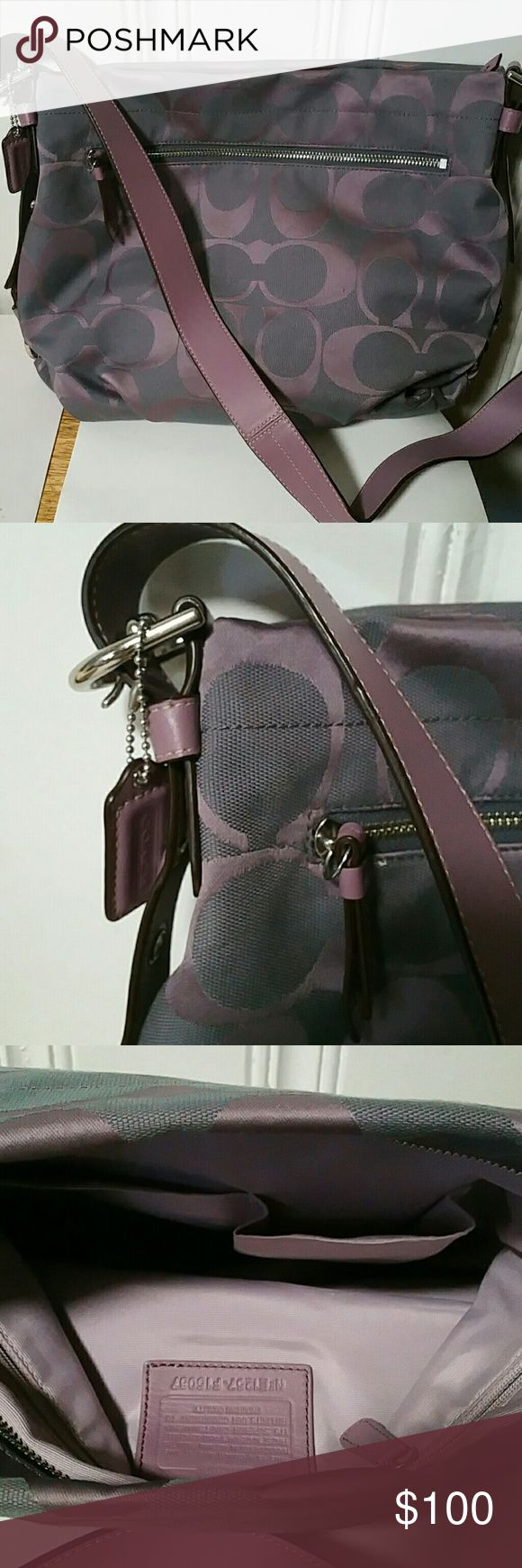 Coach Purse Lavender and gray lsrge Coach purse. It measures 11hx15w with a 18 inch strap. It is very clean Coach Bags Shoulder Bags