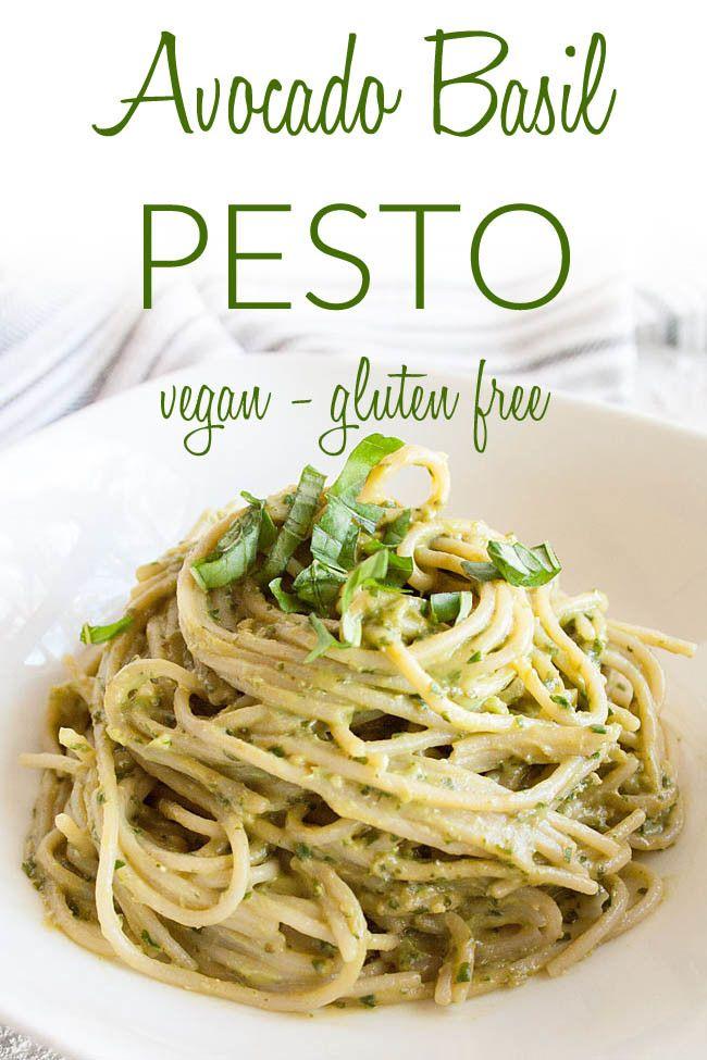 Avocado Basil Pesto Vegan Gluten Free This Creamy Recipe Can Be Used On Pasta In Sandwiche Vegetarian Pasta Recipes Vegan Pasta Recipes Basil Pesto Vegan
