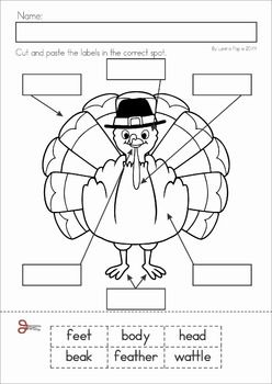 Kindergarten Thanksgiving Math & Literacy Worksheets and Activities. A page from the unit: Label the turkey cut and paste