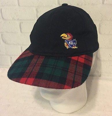 University of Kansas Jayhawks Baseball Cap Snapback Plaid Black