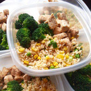 Meal prep: Sauteed chicken chunks, brown rice with corn, green peas, along with steamed broccoli