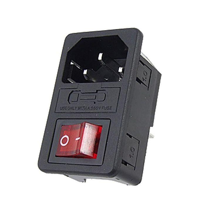 Daya listrik Rocker Beralih 3 Pin IEC 320 C14 Inlet Soket Beralih Konektor Plug 10A 250 V