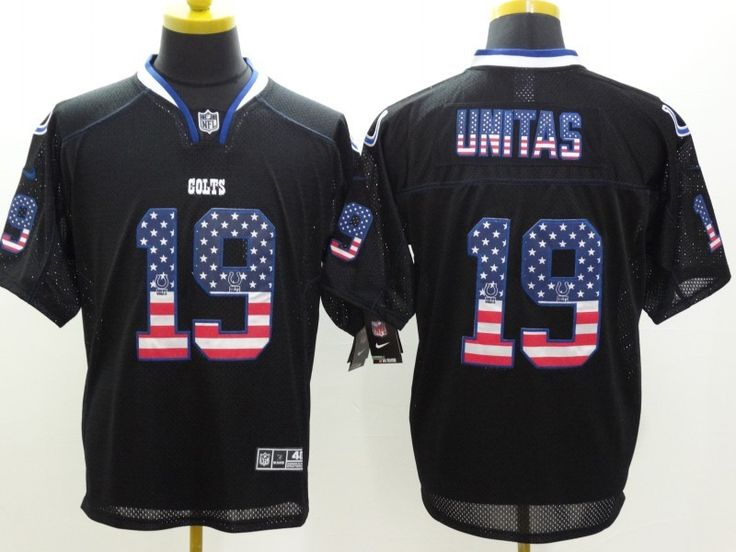 bbf0505e6 ... order mens nike nfl indianapolis colts 19 johnny unitas usa flag  fashion black elite jerseys the