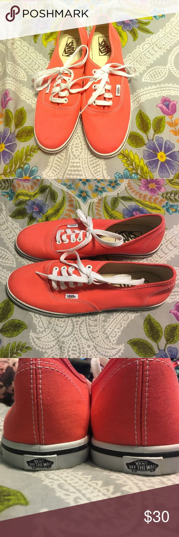 Coral Vans Add some color to your look with these coral vans. Perfect for those van fanatics. Cute and comfortable, and are pair perfectly with jeans! Vans Shoes Sneakers