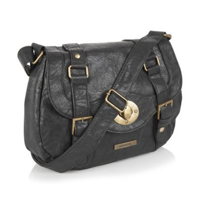 This black #satchel handbag from Kangol features top stitch and panel detailing on its flap, an embossed metal logo tab and a turnlock fastening, which has a popper on either side.  See more at: http://www.look-fabulous.com/store/category/bags-purses/