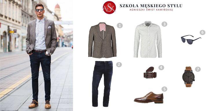 Męska koszula to wizytówka prawdziwego mężczyzny. Prezentuje się dobrze nie tylko z garniturem, ale również w codziennych stylizacjach. W dzisiejszej stylizacji stawiamy na wzór – białą koszulę w kropki. Stanowi świetnie połączenie z klasycznymi jeansami, marynarką i eleganckimi butami. Doskonale sprawdzą się dodatki w kolorze butów – zegarek i pasek oraz okulary słoneczne, które dodają stylu i szyku. http://szkolameskiegostylu.pl/blog/2015/11/stylizacja-meska-biala-koszula-w-kropki/