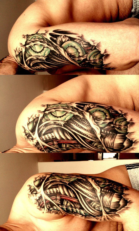 Tattoo gear tattoo sleeve mechanic tattoo mechanical tattoo gears - 3 Biomechanical Tattoos