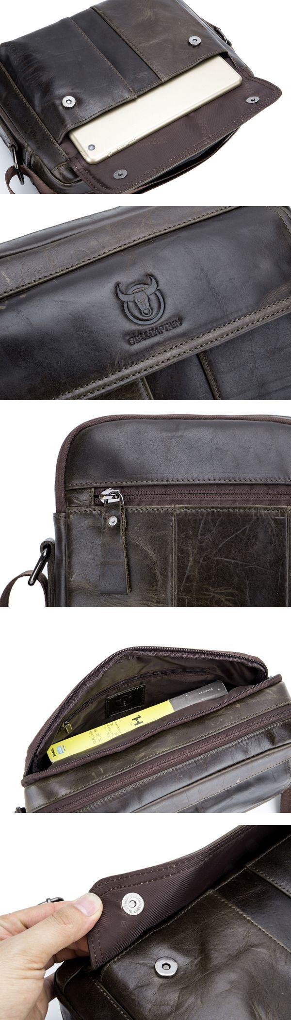 Bullcaptain® Men Genuine Leather Crossbody Shoulder Bag Business Messenger Bag Coffee Brown