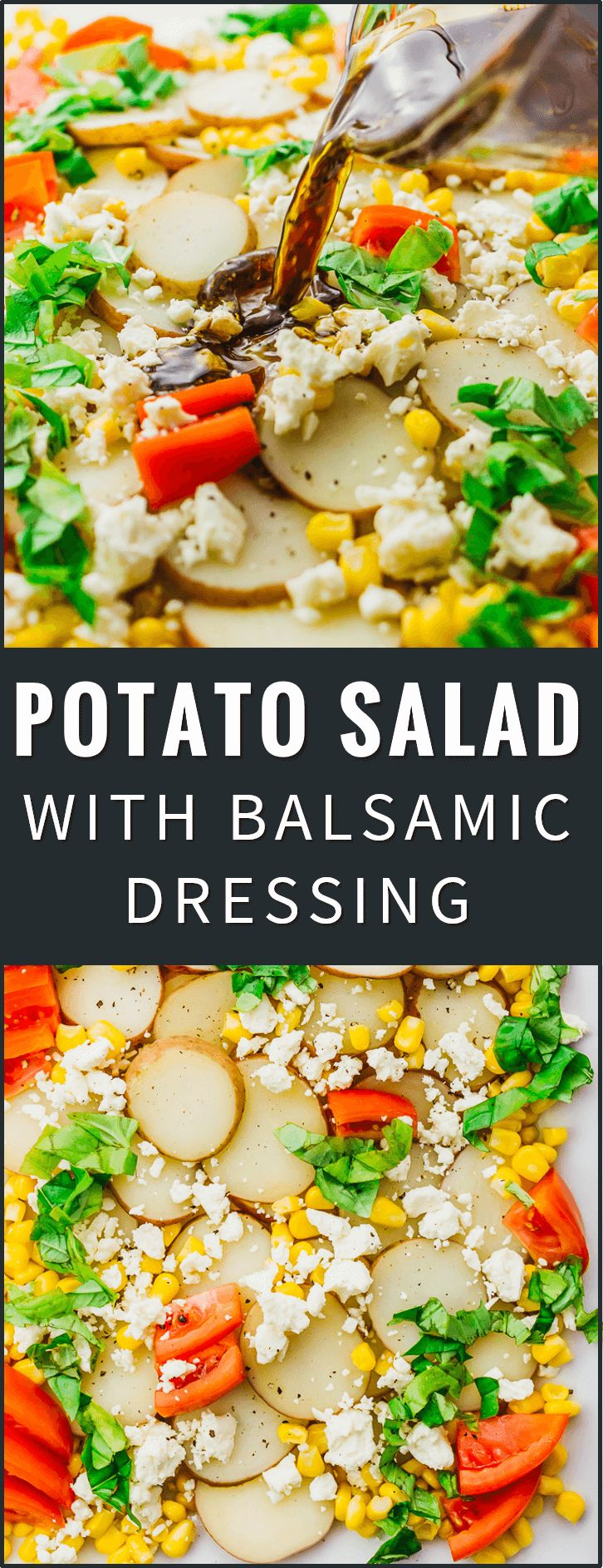 Drizzled with a balsamic horseradish dressing, this flavorful potato salad has sliced red potatoes, tomatoes, corn, feta cheese, and basil leaves. easy, recipe, dressing, classic, best, loaded, pioneer woman, healthy, mustard, no mayo, redskin, old fashioned, vegan, simple, homemade, italian, greek, vinegar, paula deen, white, paleo, traditional, basic, american, herb, how to make potato salad, texas, red bliss, dairy free, quick, light, mayonnaise, vinaigrette, cold, eggless...