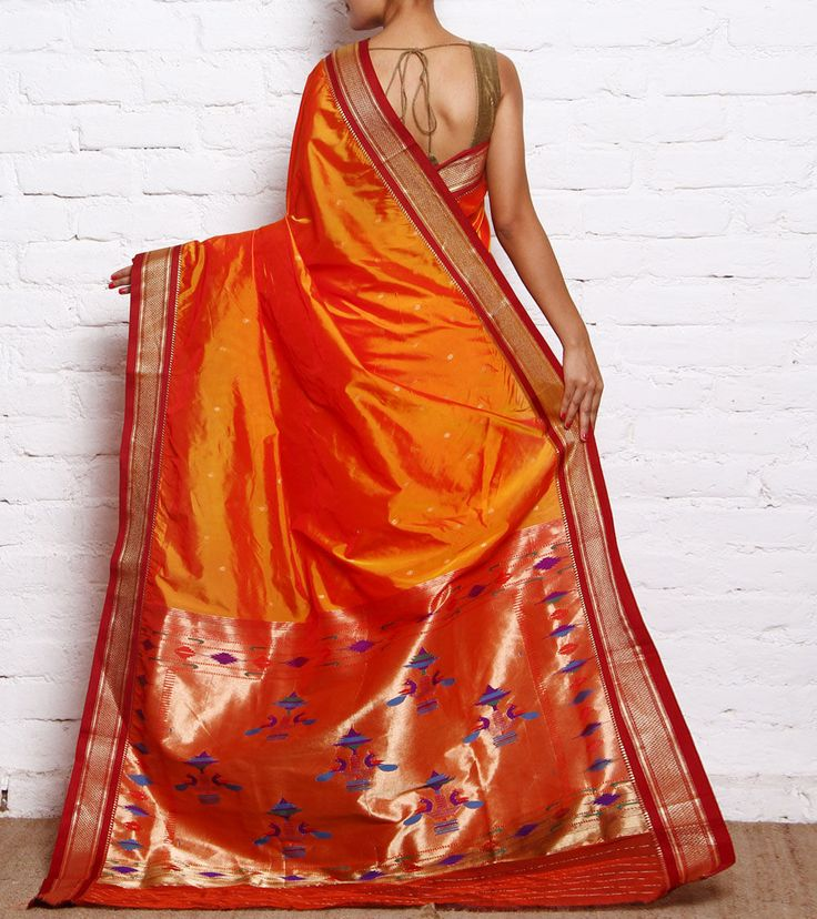 Orange & Maroon Paithani Silk Saree with Zari Peacock Palla