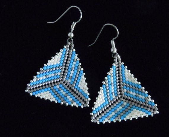 Striped Border Peyote Triangle Earrings, Delica Seed Bead Earrings, Beaded Earrings, Seed Bead Earrings