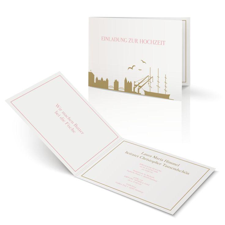 Hochzeitseinladung Hamburger Liebe In Antikrosa   Klappkarte Flach #Hochzeit  #Hochzeitskarten #Einladung #modern