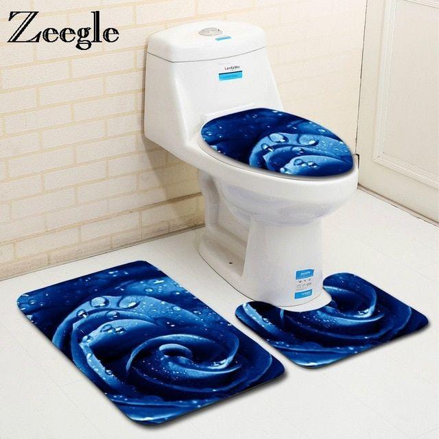 Zeegle 3pcs Microfiber Bath Mats Set Rose Pattern Pedestal Rug