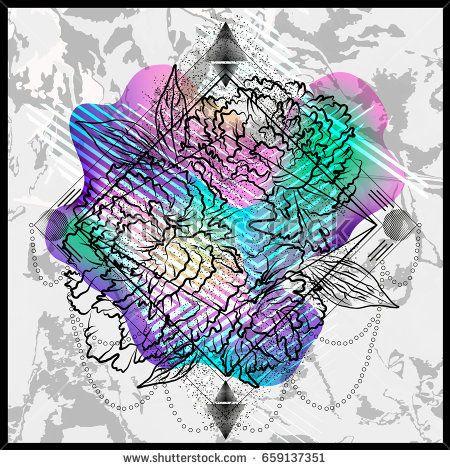Modern trendy floral poster. Template design packaging for perfume. Vector illustration EPS10.