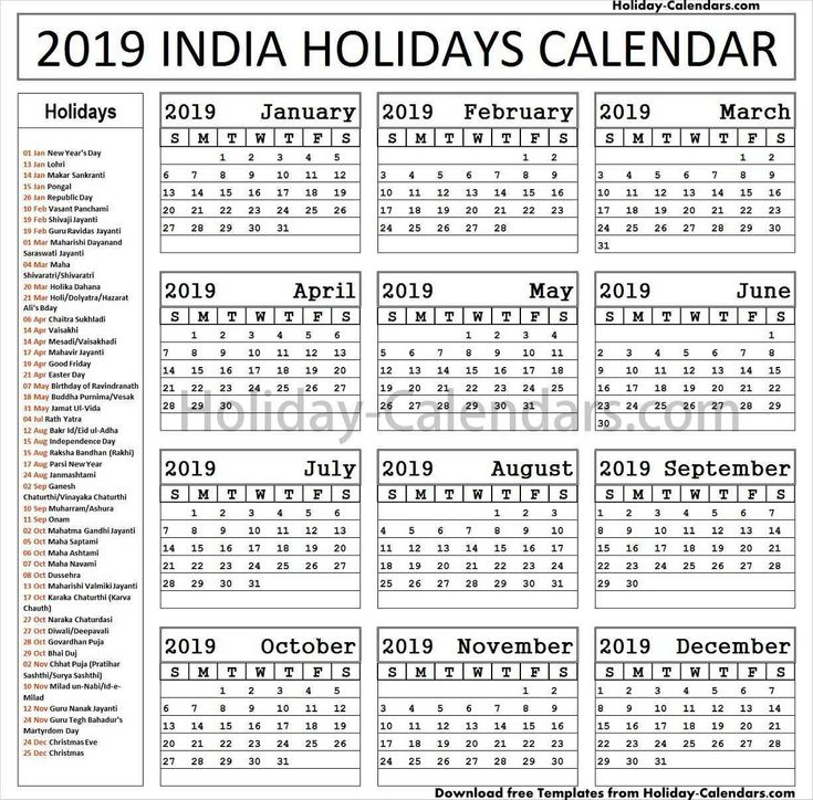 Indian Bank Holidays List 2019 Download PDF Holidays