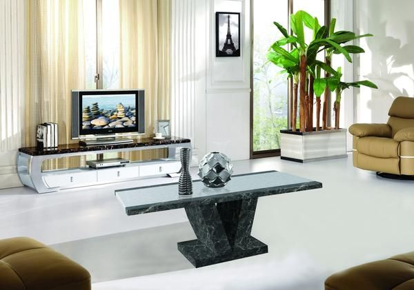 Modern Style Marble Effect Solid Stone Made Coffee Table in Black, Brown and…