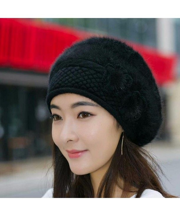 Women Beret Winter Warm Beanie Knitted Crochet Hat Fashion Bucket Ski Cap