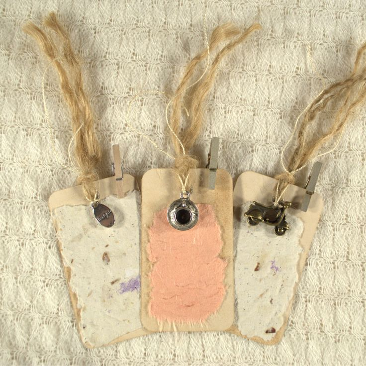 Primitive Decor Tea Stained Gift Tags. Value Pack Set of 3. Silver & bronze charms. Handmade paper, mini pegs, raffia, ribbon. OOAK.