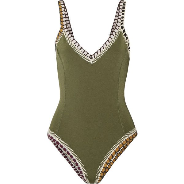 Kiini Wren crochet-trimmed swimsuit ($305) ❤ liked on Polyvore featuring swimwear, one-piece swimsuits, army green, bodycon swimsuit, olive swimsuit, one piece bathing suits, olive green swimsuit and one piece swim suit