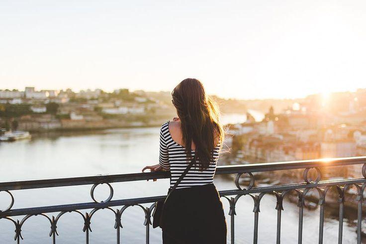 #porto #portugal #sunset #bridge #sun #duoro #river #portugalsko