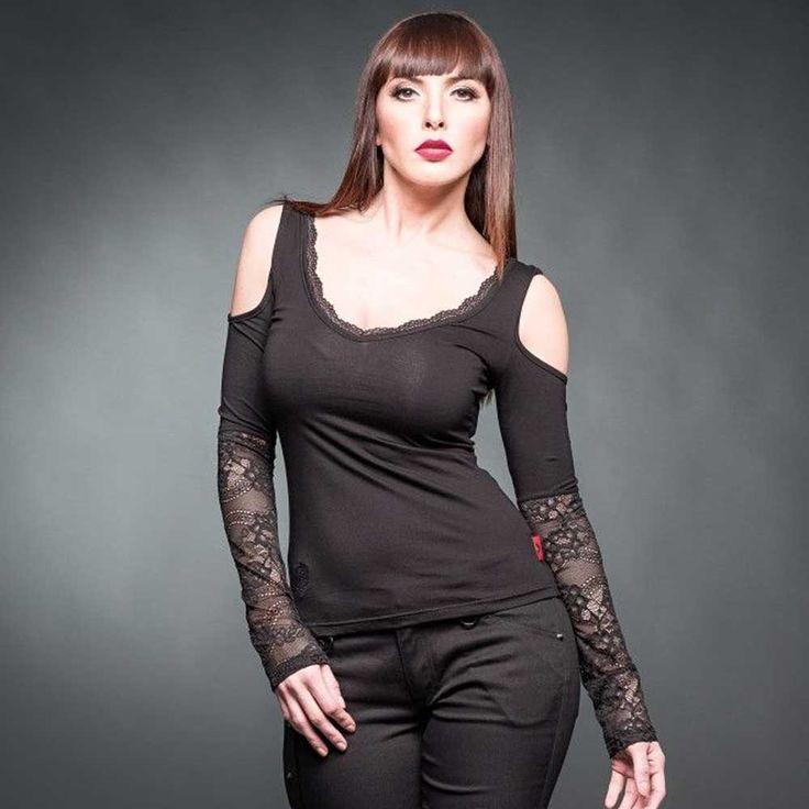 Queen of Darkness Shirt met lange kanten mouwen en open schouders zwar