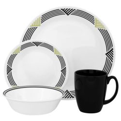 Corelle Global Stripes 16pc Dinner Set - 4 dinner plates, 4 bread & butter plates, 4 cereal bowls and 4 stoneware mugs (mugs not under Corelle warranty)