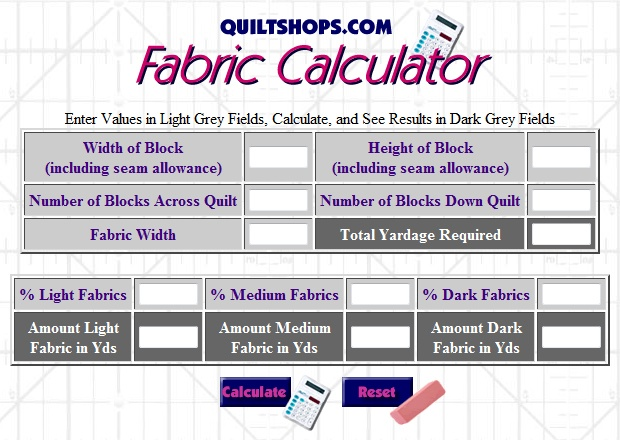 Quiltshops.com Fabric Yardage Calculator | Sewing: Tips & Tricks ... : fabric calculator for quilts - Adamdwight.com
