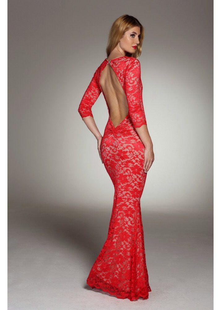 Honor gold faye red lace maxi dress