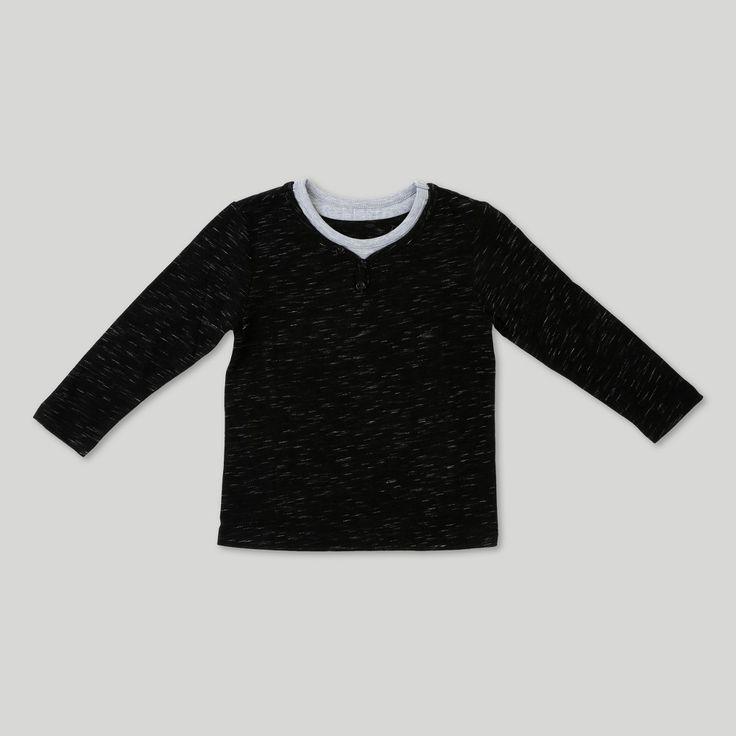 Toddler Boys' Afton Street Long Sleeve Henley - Black - 18 Months, Size: 18 M