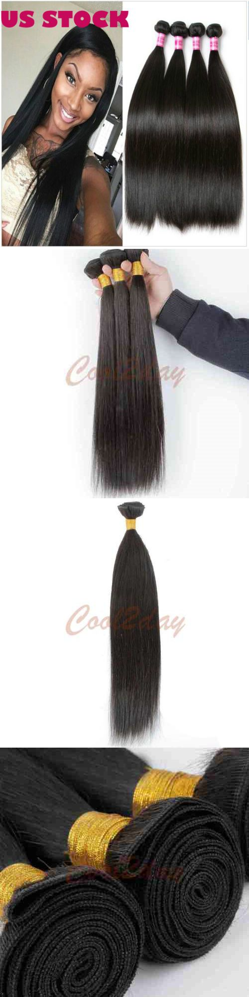 Hair Extensions: 100% Straight Virgin Remy Human Hair Brazilian Peruvian Extension Weft Us Stock -> BUY IT NOW ONLY: $44 on eBay!