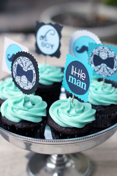 """Love these """"Little Man Boy Shower"""" cupcakes via @This Week for Dinner"""