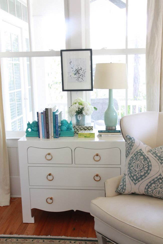 Jacqui Chest from Bungalow 5 - we have it and love it in white - gold hardware - 4-drawer dresser - white lacquer
