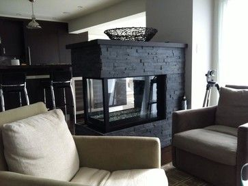 Three Sided Modern Fireplace | Houzz   Home Design, Decorating And Remodeling  Ideas And Inspiration