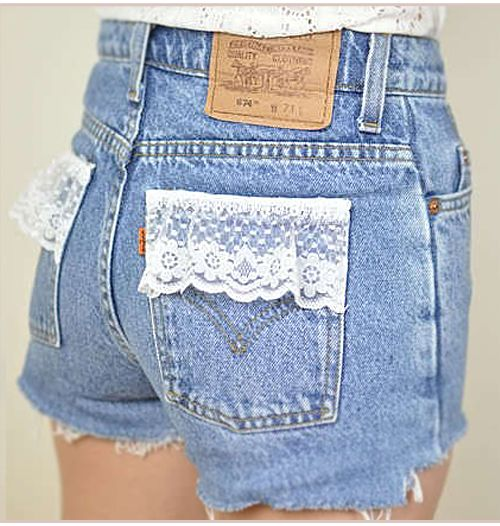 Diy Ideas, Style, Jeans Shorts, Denim Shorts, Summer Shorts, Lace Shorts, Diy Projects, Old Jeans, High Waist Shorts