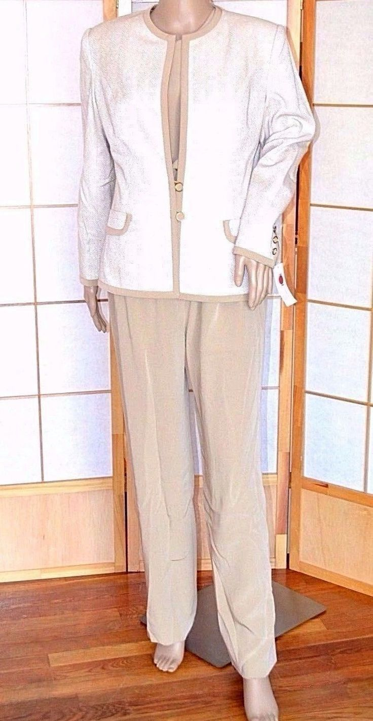 NWT $2000 Christian Couture Beige Ivory Silk Herringbone Chevron Pant Suit 8