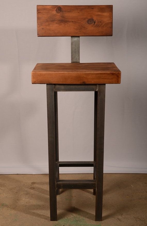 Custom steel and reclaimed wood stool by by phillysalvage on Etsy, $220.03