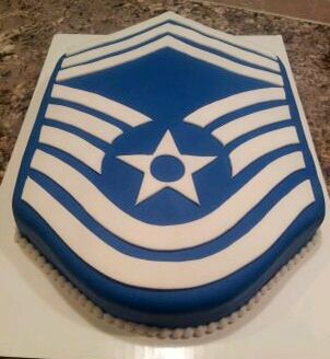 CMSgt chevron cake...fingers crossed that I have a reason to make this as a MSgt cake in the near future!