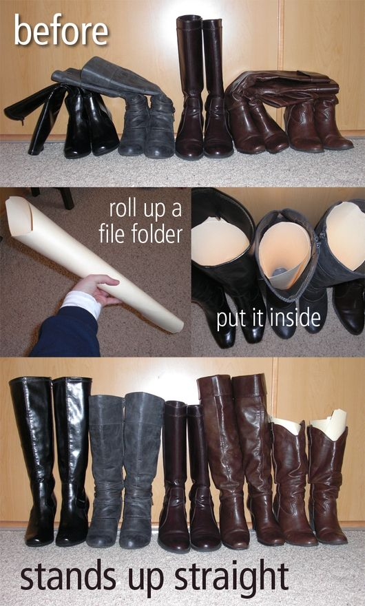 Boot holder-uppers: Good Ideas, Pools Noodles, How To Make Boots Stands, Boots Organizations, Tricks, File Folder, Stands Up, Closet, Paper Towels