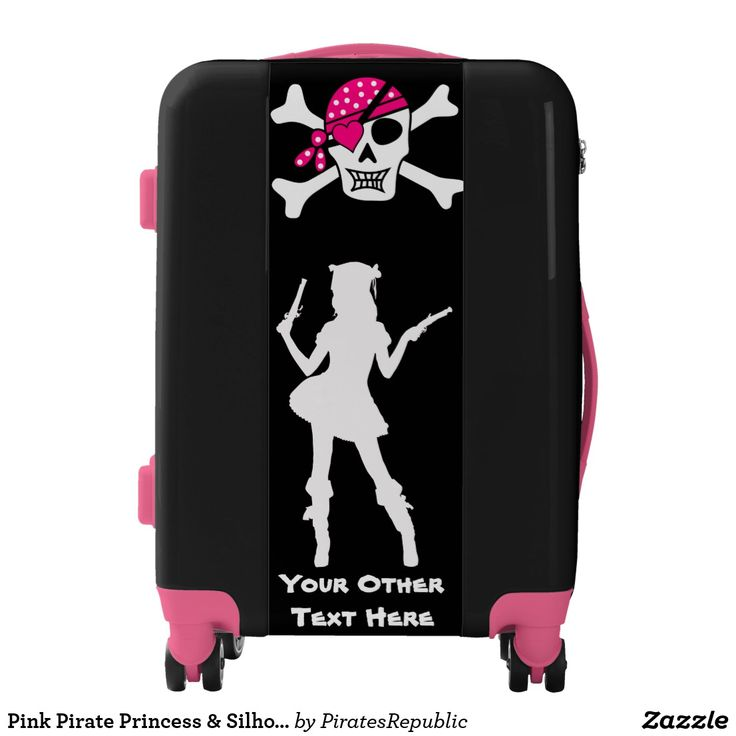Pink Pirate Princess & Silhouette & Your Text