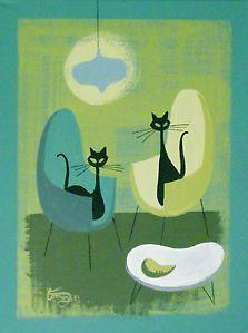 atomic retro cat | ... -PAINTING-MID-CENTURY-ATOMIC-MODERN-EAMES-RETRO-INTERIOR-DESIGN-CAT
