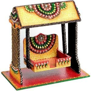aapno rajasthan textured pooja jhula in wood & clay