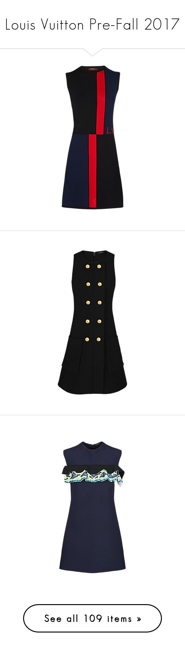 """""""Louis Vuitton Pre-Fall 2017"""" by mariots22 ❤ liked on Polyvore featuring dresses, a line dress, skater skirt, a line skater skirt, no sleeve dress, sleeveless colorblock dress, woolen dress, wool dress, blue dress and leather belt"""