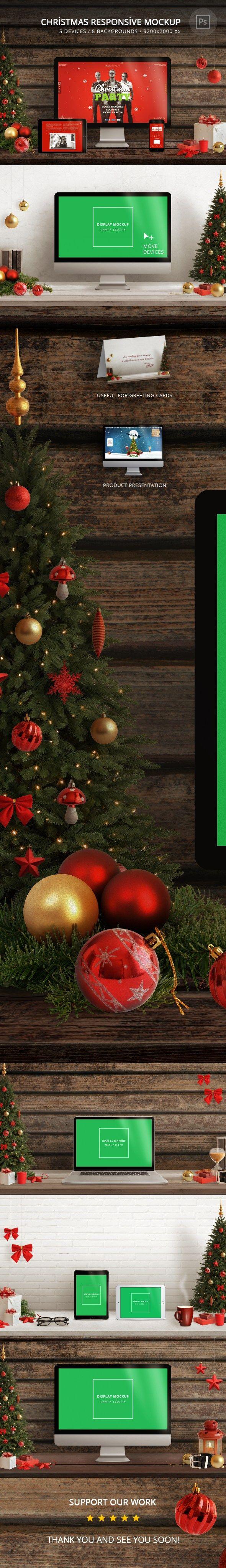 RSplaneta Graphic Design Christmas Responsive Mockup Lights