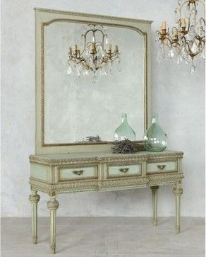 Mahogany Makeup Bedroom Vanity | Louis XVI style Vintage Vanity in Sea Green - mediterranean - makeup ...